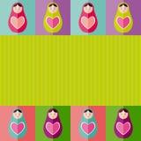Russian dolls matryoshka with heart.Card design. Vector Royalty Free Stock Photography