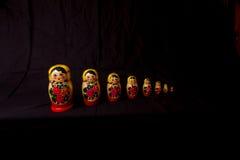 Russian Dolls matryoshka in low light Stock Photo