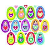 Russian dolls Matryoshka on a white background, bright colors. Birthday, baby shower, party, design. Vector Stock Images