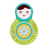 Russian dolls matryoshka on white background, green and blue colors. Vector Stock Images