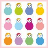 Russian dolls matryoshka on white background Stock Photo