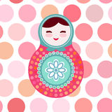Russian dolls matryoshka on white background, pink Royalty Free Stock Photo