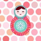 Russian dolls matryoshka on white background, pink Royalty Free Stock Photo