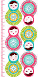Russian dolls matryoshka on white background, pink and blue colors Children height meter wall sticker, kids measure, Growth Chart. Stock Photos