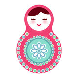 Russian dolls matryoshka on white background, pink Royalty Free Stock Image