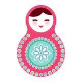 Russian dolls matryoshka on white background, pink Royalty Free Stock Image