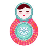 Russian dolls matryoshka on white background, pink and blue colors. Vector Royalty Free Stock Photos
