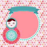 Russian dolls matryoshka on white background, pink Stock Images