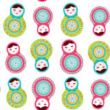 Russian dolls matryoshka on white background, seamless pattern, pink and blue colors. Vector Royalty Free Stock Image