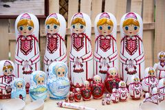 Mari dolls. Russian dolls painted in Mari national ornament Royalty Free Stock Photos