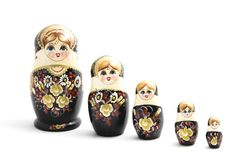 Russian dolls (Russian pregnant dolls, matrjoshka). Isolated on white background Royalty Free Stock Photo