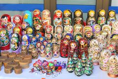 Handicrafted Russian dolls for sale in a souvenir shop Royalty Free Stock Image