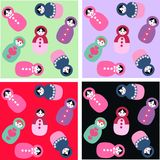 Russian dolls seamless pattern. With different background colours Stock Photo