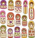 Russian dolls set. Russian dolls cartoon doodle set Royalty Free Illustration