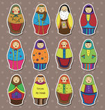 Russian dolls stickers. Cartoon vector illustration Royalty Free Stock Photos