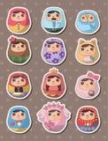 Russian dolls stickers. Cute cartoon vector illusttration Stock Photo