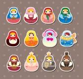 Russian dolls stickers. Cute cartoon vector illusttration Stock Photos