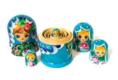 Russian dolls on  white background Royalty Free Stock Photography