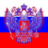 Russian double-headed eagle coat of arms on the background of the flag. Vector eagle is made in three colors of the national flag: red, blue, white. The Stock Illustration
