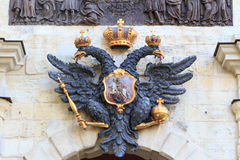 Russian double headed eagle. The russian national symbol - a double-headed black eagle royalty free stock photography