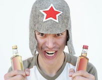 Russian drunkard Royalty Free Stock Photography