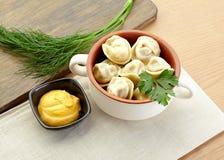 Russian dumplings - pelmeni, in white bowl. Food Royalty Free Stock Photo