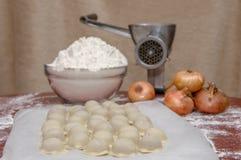 Russian dumplings. The process of cooking. Pelmeni Royalty Free Stock Photo