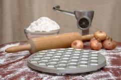 Russian dumplings. The process of cooking. Pelmeni Royalty Free Stock Photos