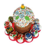 Russian Easter cake. And colourful easter eggs isolated on the white background Royalty Free Stock Image