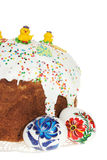Russian Easter cake. And colourful easter eggs isolated on the white background Stock Photography