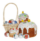 Russian Easter cake and colourful easter eggs Royalty Free Stock Photography
