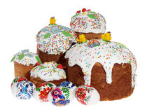 Russian Easter cake and colourful easter eggs Stock Image