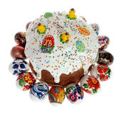 Russian Easter cake and colourful easter eggs Royalty Free Stock Photo