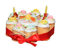 Russian Easter cake isolated on the white Stock Image