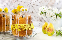 Russian Easter cake Kulich with raisin and dried cherry Stock Photo