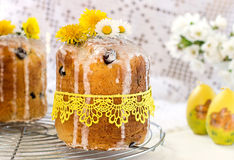 Russian Easter cake Kulich with raisin and dried cherry Stock Image