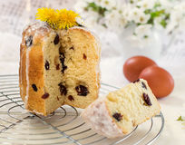 Russian Easter cake Kulich with raisin and dried cherry Royalty Free Stock Image