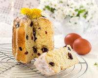 Russian Easter cake Kulich with raisin and dried cherry Stock Photos