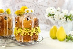 Russian Easter cake Kulich with raisin and dried cherry Royalty Free Stock Photo