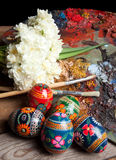 Russian Easter Eggs And Pallet Stock Photo