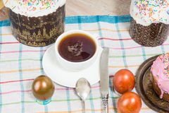 Russian Easter eggs with a picture Royalty Free Stock Photography