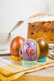 Russian Easter eggs with a picture Stock Photo