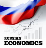 Russian economics vector illustration with Russia flag and business chart, bar chart stock numbers bull market, uptrend. Line graph symbolizes the welfare Royalty Free Stock Images