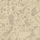 Russian ecru seamless pattern, vector illustration. Russian ecru seamless pattern, world of Russia background with modern and traditional elements, 2018 trends Stock Image