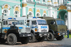 Russian emergency platoon trucks by Hermitage Royalty Free Stock Photography