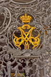 Russian empire symbol. Symbol of russian empire at Hermitage State Museum wrought iron gate royalty free stock photography