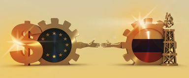 Russian and Europe flags on gears, gas rig, dollar sign. Image relative to gas transit from russia to European Union. Business Handshake. 3D rendering. Lens Stock Images