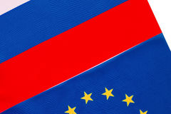 Russian and European Union flag Stock Images