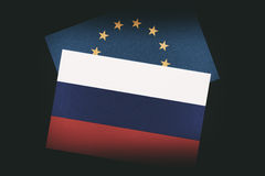 Russian and European Union flags Royalty Free Stock Photography
