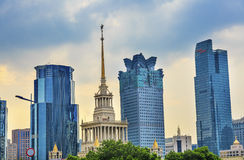 Russian Exhibition Center Skyscrapers Shanghai China Stock Photos